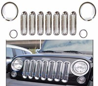 Car Styling 11pcfor Silver Front Mesh Grill Grille Insert Headlight Cover Trim For Jeep Wrangler