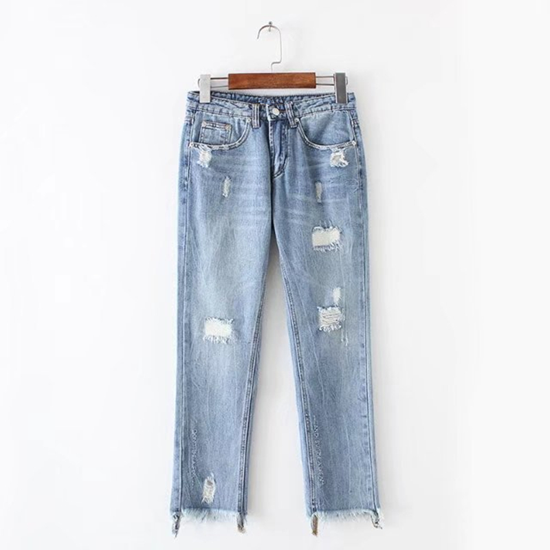 Boyfriend Jeans Women Ankle-Length Washed Denim Summer Vintage Hole Ripped Letter Embroidery Harem Pants Female Casual Streetwea 2017 ripped jeans women casual denim ankle length boyfriend pants women floral embroidered flares hole female slim pencil pants