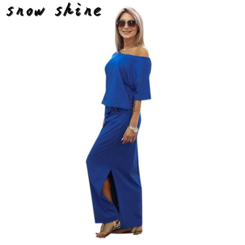 snowshine YLI Women Summer Long Maxi BOHO Evening Party Dress with Pocket free shipping