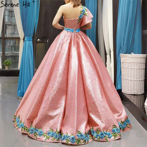 Image 2 - High end Red Bean One Shoulder Sexy Wedding Dresses 2020 Real Photo Sequin Handmade Flowers Bride Gown 66738 Custom Made