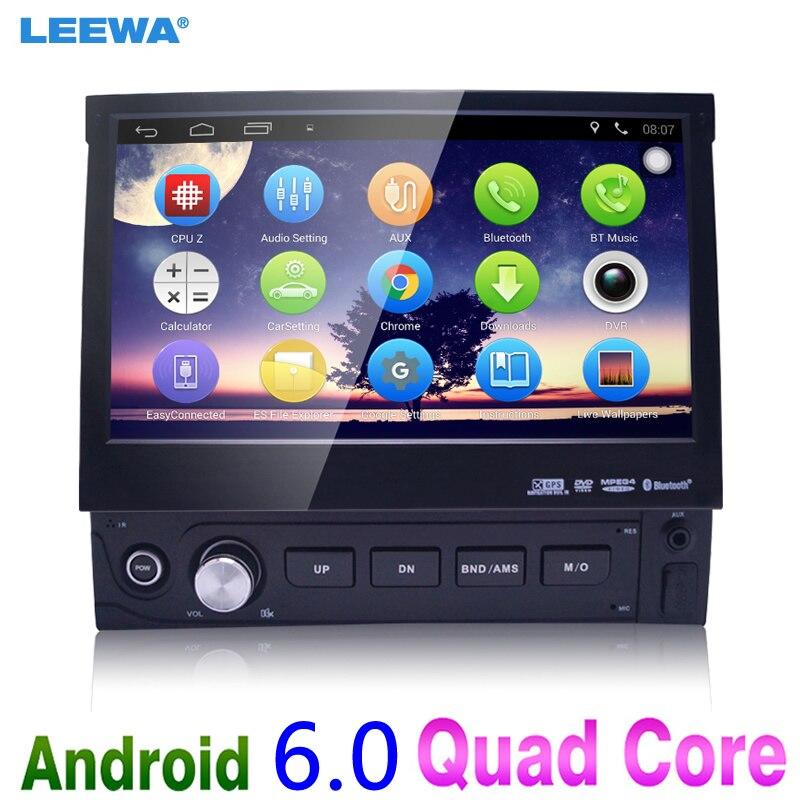 imágenes para 1DIN 7 inch En el tablero Manumotive Ultra Delgado del Androide 6.0 Quad Core Bluetooth GPS Navi Radio USB Multimedia jugador # CA4106