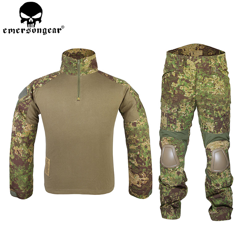 EMERSONGEAR Combat Suit Tactical Camo Shirt Pants with Elbow Knee Pads Airsoft Paintball Hunting Military G2 BDU Uniform EM6978 emersongear g3 combat shirt pants military bdu army airsoft tactical gear paintball hunting uniform bdu atacs au emerson