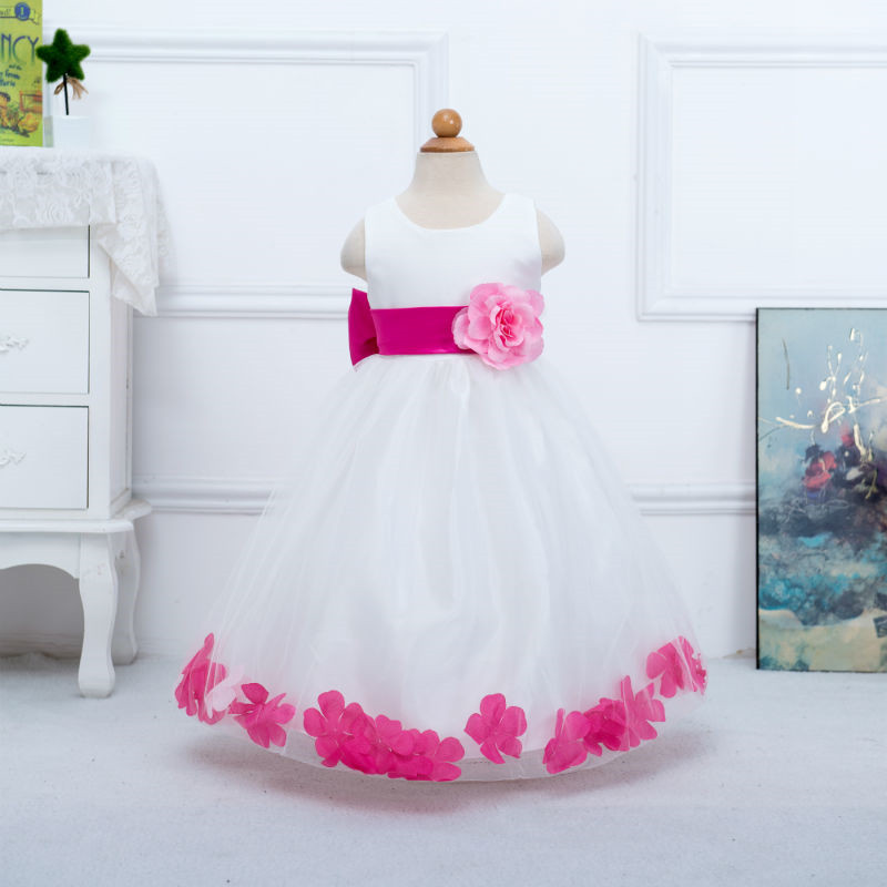 Lace Princess Baby dress Cute Fashion Girl Dress Embroidered Sequins flower long size:100-160 LP56