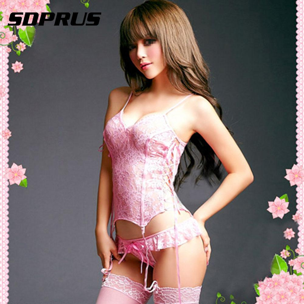 Fashion Sexy Women   Corset   Ladies Mermaid Lingerie Set Intimates Corselet Pink Bridal Lace Belted   Corset   Top+G-Strings+Stocking