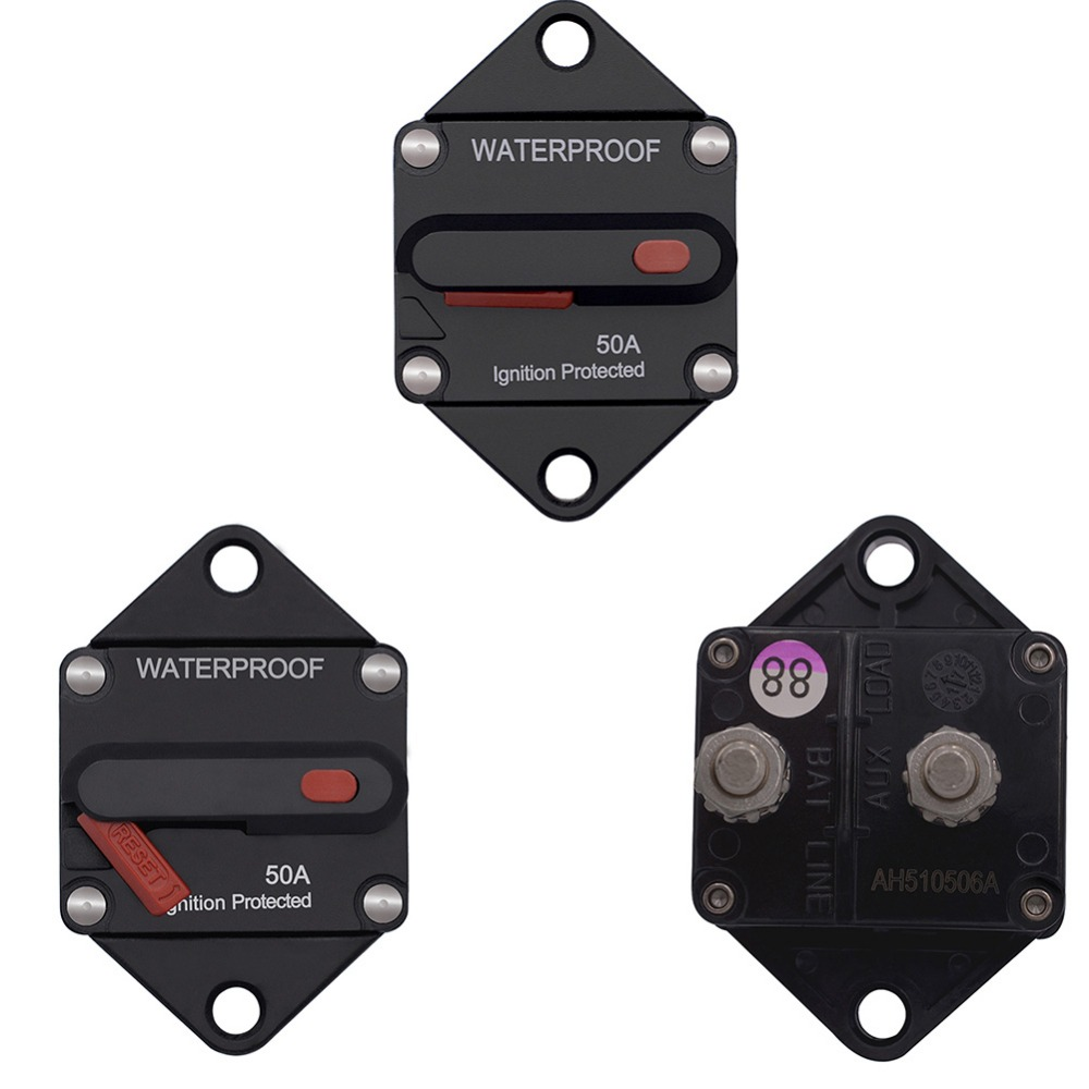 Circuit Breaker Fuse with Manual Reset Button,12V 32Vdc,15A,Panel Mount