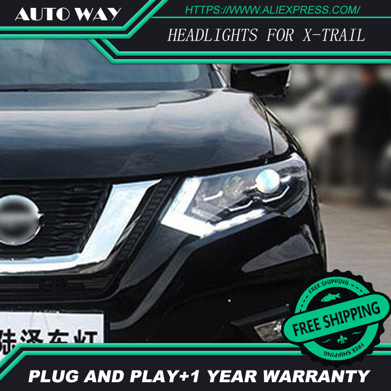 Car Styling Head Lamp case for Nissan X-TRAIL Headlights TIIDA 2017 2018 LED Headlight DRL Lens Double Beam Bi-Xenon HID hireno headlamp for 2016 hyundai elantra headlight assembly led drl angel lens double beam hid xenon 2pcs