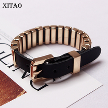 [XITAO] 2018 New Arrival Europe Fashion Women Solid Color Metal PU Bracelets Female Accessories GWY1835