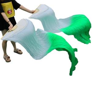 Image 3 - גבוהה באיכות 100% סיני משי רעלות אוהדי ריקוד 1 זוג בטן ריקוד אוהדי במבוק צלעות ארוך משי אוהדי 180*90cm בעבודת יד אבזרי ריקוד