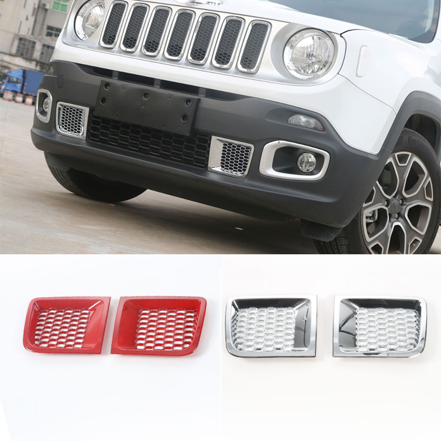 2PCS Car-Styling ABS FOR 15-16 JEEP Renegade 1.4t With Net Chrome Red Front Bumper Grille Air Input Outlet Trim Sticker yaquicka for jeep renegade 2015 2016 chrome abs 4pc car styling exterior door side body protection trim decor strips sticker