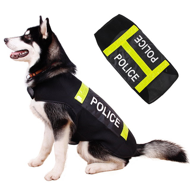 5535bead356 Large Pet Dog Reflective Clothes Working Dog Big Dog Clothing Riot Police  Style Dog Vest Summer Wear Coat For Safty L-XXL