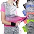 CHRLEISURE Entrenamiento Camisetas de Las Mujeres 15 Colores de Degradado de Color de Moda de Algodón Flacos S-XL Tops Adventure Time 6b