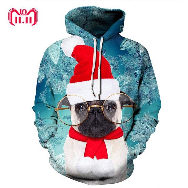 Kersttrui Mopshond.Us 26 63 Harajuku Bril Hond Kerst 3d Digitale Print Streetwear Heren Trui Hiphop Vrouwen Trui Kerst Trui Plus Size Sd04 In Harajuku Bril Hond Kerst