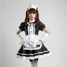 Nieuwe 2017 Servant Vrouwen Cosplay Party Halloween Zwarte Lolita Fancy Dress Volwassen Vrouwen Sissy Maid Uniform Sexy Franse Maid Kostuums(China)