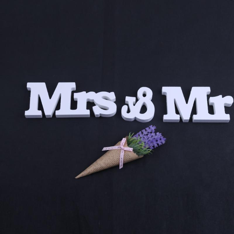 3 шт./компл. Свадебные Аксессуары Mr & Mrs буквы знак стоял деревянный столешницы белые буквы свадьба знак Романтический партия Декор