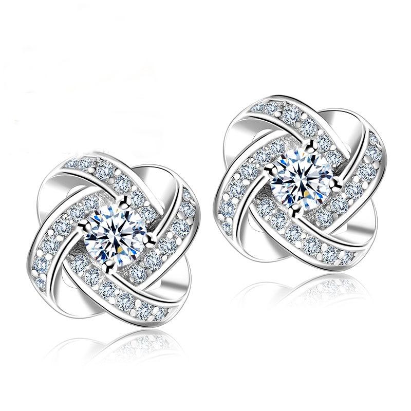 JEMMIN Real 925 Sterling Silver Clear Cubic Zircon CZ Crystal Knot Flower Stud Earrings for Women Girls Bijoux Wedding Jewelry