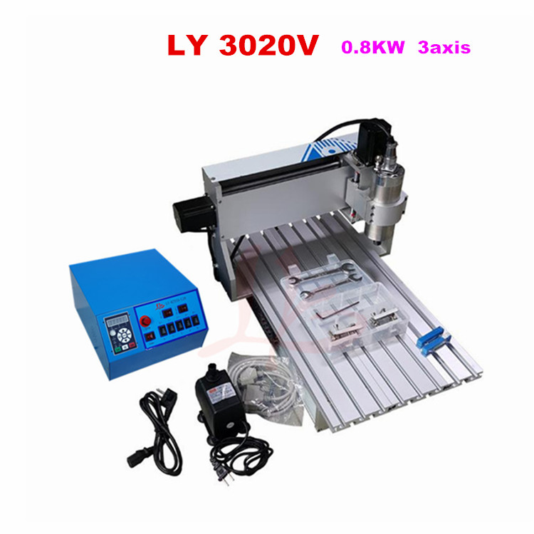 CNC laser machine 3020V 0.8KW 3axis mini cnc router 3020 for aluminum wood pcb leather engraving cnc 5axis a aixs rotary axis t chuck type for cnc router cnc milling machine best quality