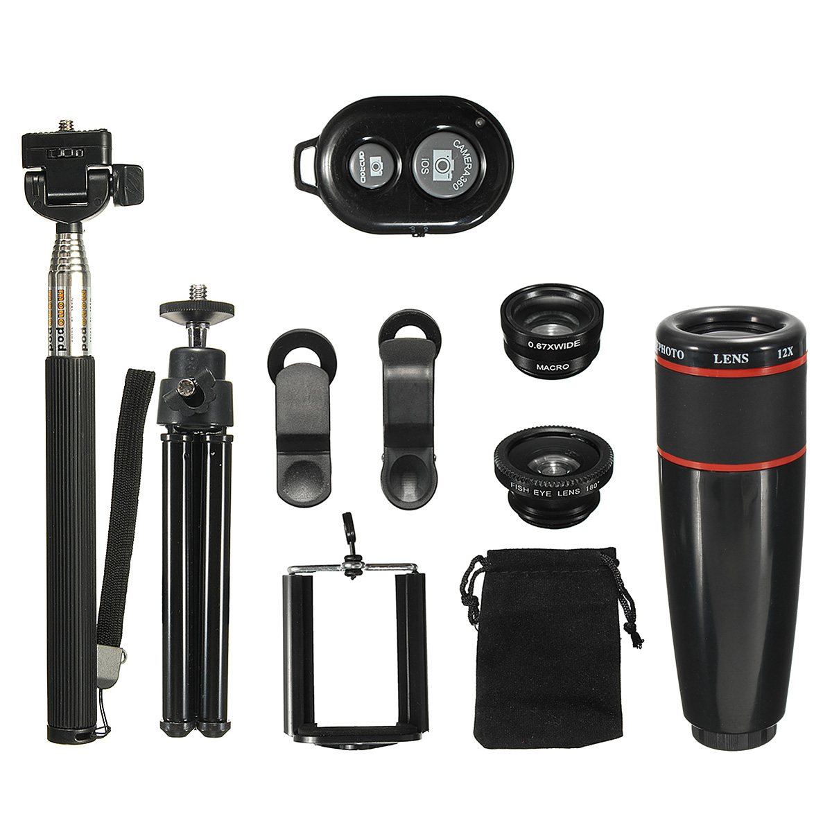 8x 12x Telephoto Lens Kit with Mini Tripod Phone Holder 3 in 1 Lens Bluetooth Remote