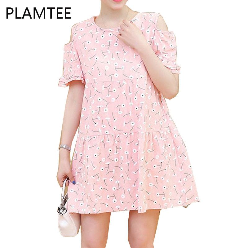 PLAMTEE 2017 Summer Maternity Blouses Dress Flower Print Pregnant Dresses Off Shoulder Gravidas Pregnancy Clothes For Embarazada