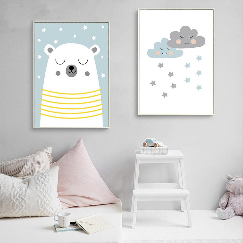Painting Bear Moon Sheep Cloud Picture Art Poster Wall Office Living Room Home Decor