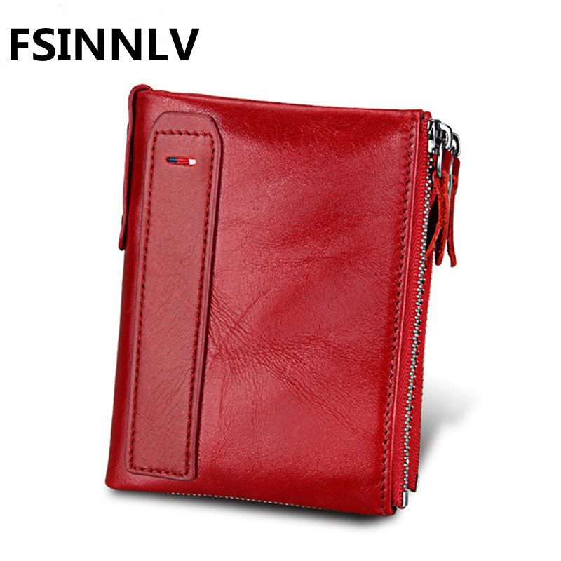 FSINNLV Fashion Genuine Leather Women Men purse Short Wallet for women Double Zipper Wallet Coin Purse Card Holder HB53 allblue 5pcs lot soft fishing lure silicone shad worm bait 95m 5 4g swimbait vivid pike bass lure isca artificial fishing tackle