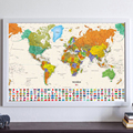 Canvas Vintage world Map of country flag retro Oil Painting Print Living Room Wall Art Crafts Sticker Bar Cafe Poster and MAPS