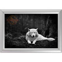 Silver Color Aluminum Alloy Picture Frame Home Decor Custom Canvas Frame Animals Wolf Canvas Poster Frame