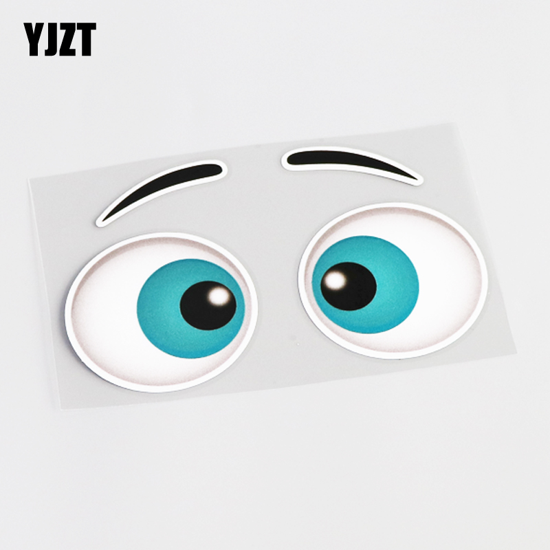 YJZT 14.7CM*8.5CM Funny Car Styling Eye Cartoon Reflective Car Sticker Decal PVC 13-0447