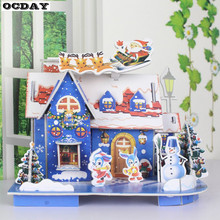 ФОТО new toys jigsaw mini 3d puzzle house building merry christmas gifts for children favor gifts diy manual puzzle montessori toys