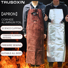 цена на Professional welding apron leather cowhide electric welding protective apron brown