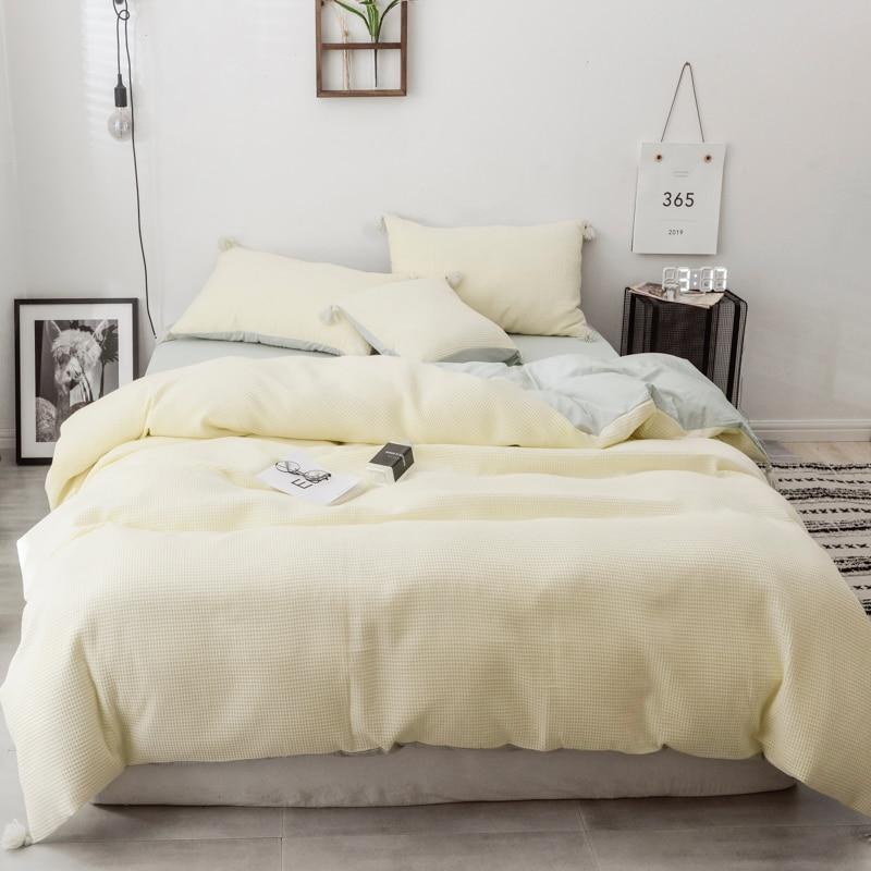 Ev ve Bahçe'ten Yatak Takımları'de Pembe Yeşil Mor % 100% Pamuk Püskül kral Kraliçe nevresim takımı yatak çarşafı veya Gömme çarşaf seti Nevresim yatak takımı parure de yaktı'da  Grup 1
