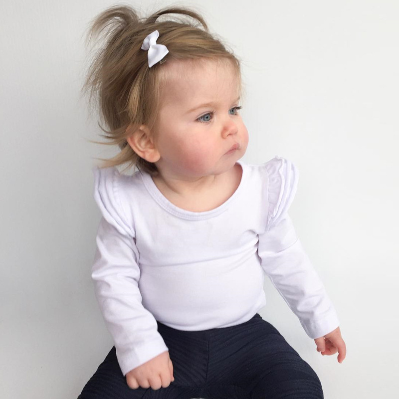 2018 Newborn Solid Color Baby Onesie Baby Bodysuit Toddler Bodysuit Baby Long Sleeve Newborn Clothes Flutter Sleeve White One