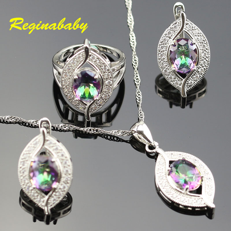 Colourful Crystal Rainbow 925 Logo Jewelry Set For Women Silver White Crystal Rings/Earrings/Necklace/Pendant