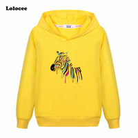 Girls Colorful Zebra Creative T-shirt Kids 2017 New Causal Cotton Long Sleeve Tops Tees Boy Animal Horse Hoodie Streetwear 3-13y