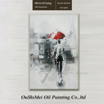 Handmade Lover Painting Impression Figure Paintings on Canvas Beautiful Street View Painting Hang Picture Landscape Oil Painting