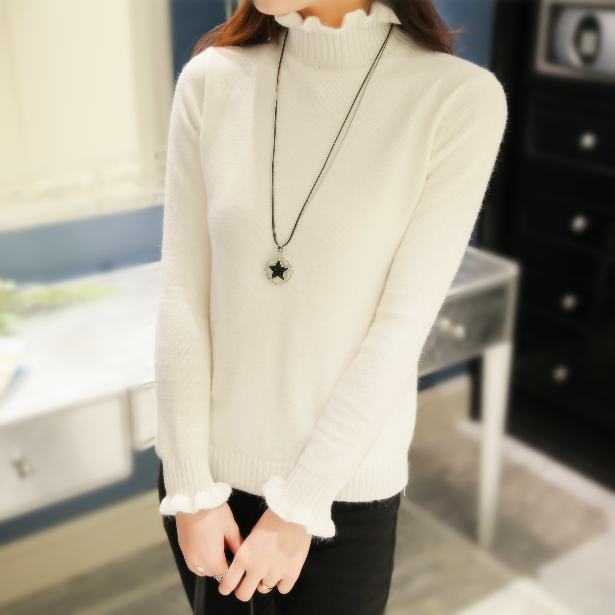 High quality cashmere sweater pullover high collar turtleneck ...