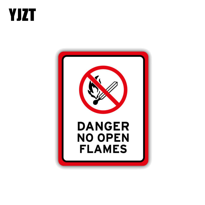 YJZT 8.7CM*11CM Warning Car Sticker PVC Accessories No Open Flames Danger Decal 12-1514