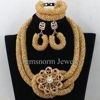 Luxury African Gold Bridal Necklace Set Chunky Crystal Wedding Beads Costume Women Jewelry Set 2017 New Gift Free shipping WA418