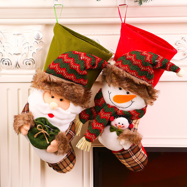 20 inch large christmas stockings navidad santa sack christmas gift bags santa claus doll socks xmas - Large Christmas Stockings