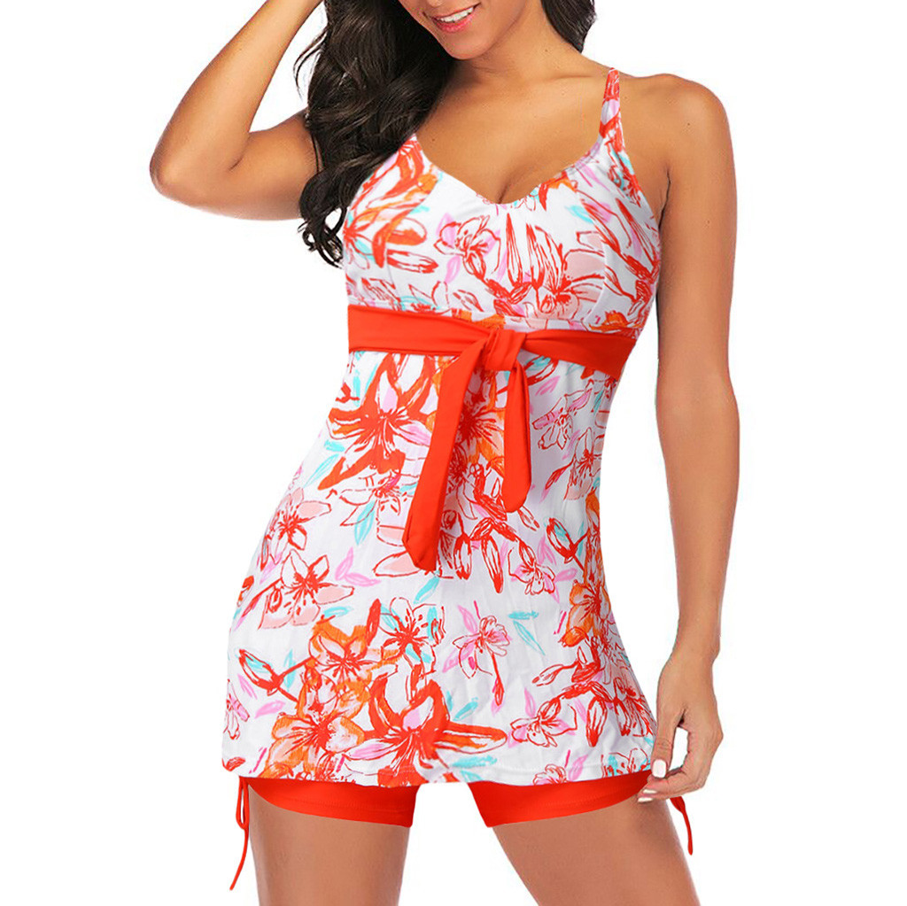 Women Bandeau Strap Orange Bow Padded Push Up Off Shoulder Swimsuit With Shorts Beachwear Swimwear Bikini Set Summer Beach Dress