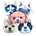 Coin purse 2016 Kids purses Cat Dog Face Zipper Case coin 3D wallet children printing dogs animal fashion bag for women handbag