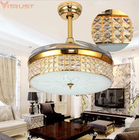 Modern Ceiling Fan Lamps Crystal folding Dining Living Room Bedroom Nordic Gold Crystal Lamp Remote Control Hanging Lamps Fans