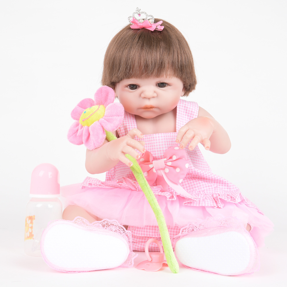 55cm Soft Full Silicone Reborn Baby Newborn Lovely Princess Girl Dolls for Kids Toy Christmas Birthday Xmas New Year Gift недорого