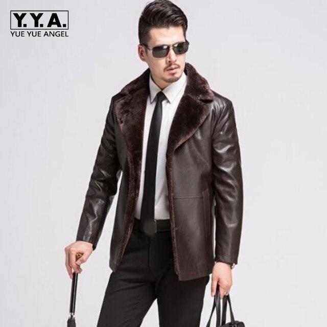 1f250580796 New Brand Men Jacket Leather New Style Fur Collar Sheep Skin Slim Fit  Winter Warm Genuine