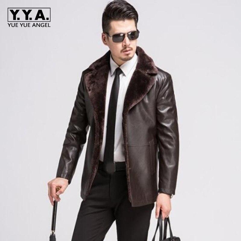 Nouvelle marque hommes veste en cuir nouveau Style col en fourrure peau de mouton Slim Fit hiver chaud en cuir véritable veste doublure en fourrure hommes veste