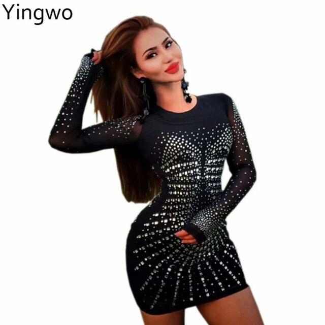 b26081df0b319 Black Sheer Mesh Long Sleeve Bodycon Dress Sexy See Through Rhinestones  Details Night Out Club Wear