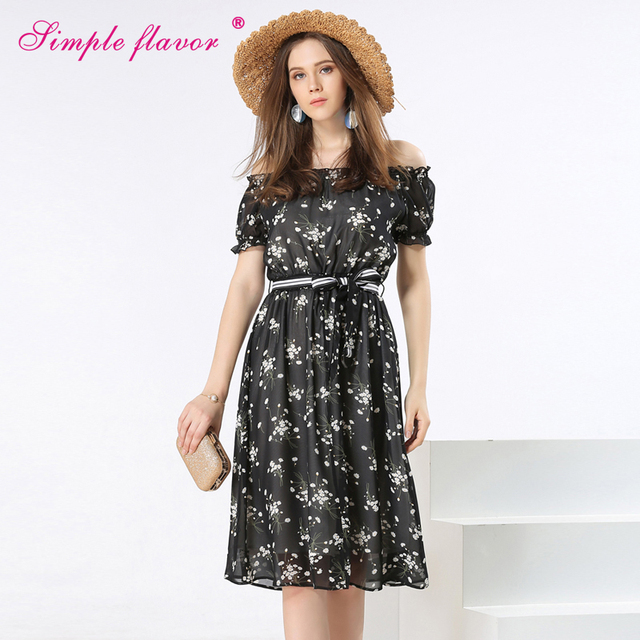 d4d3f9a700d Simple Flavor Young Ladies Summer Print Dresses 2017 New Fashion A-Line  Empire Slash-Neck Women Off Shoulder Dresses WQW2153
