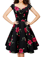 V Neck High Waist Elegant Red Rose Flower Floral Print Dress Retro Plus Size Polyester Summer