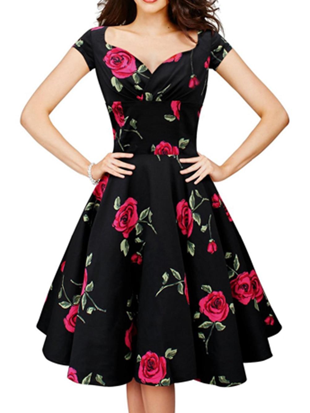 V Neck High Waist Elegant Red Rose Flower Floral Print ...