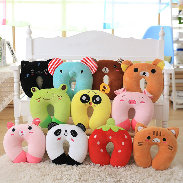 Baby Pillow Ligth Weight Comfortable Multi-Color Cartoon U Shaped Neck Travel Pillow Automatic Neck Support Head Rest Cushion