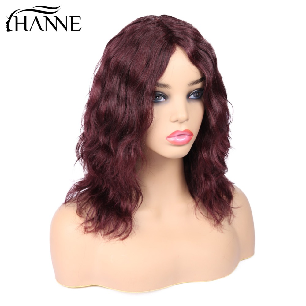 HANNE Hair Brazilian Human Hair Wigs Middle Part Natural Wave Wig Short Wavy 99J Remy Hair
